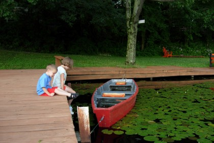 Lyons lake red wooden rowboat and cute kids